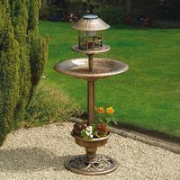Greenhurst Bronze Bird Bath Feeder Combo with Solar Light and Planter