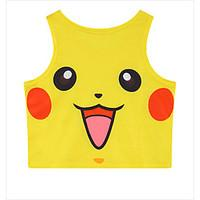 Inspired by Pocket Monster PIKA PIKA Anime Cosplay Costumes Cosplay Tops/Bottoms Print Yellow Sleeveless Vest