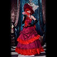 Inspired by Black Butler Angelina Dulles Anime Cosplay Costumes Cosplay Suits / Dresses Patchwork Red SleevelessDress / Hat / Necklace /