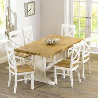 Indiana Oak 165cm Extending Dining Table with 6 Indiana Chairs
