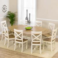 Indiana Oak 165cm Extending Dining Table with 8 Indiana Chairs
