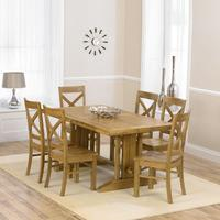Indiana Oak 215cm Dining Table with 6 Indiana Oak Chairs