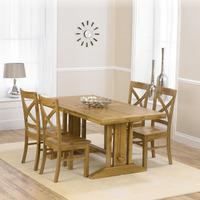 Indiana Oak 215cm Extending Dining Table with 4 Indiana Chairs