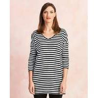 Ivory/Black Stripe V-Neck Slouch Tunic