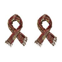 Jacquard Woven Paisley Shawls (2 - SAVE £10), Claret and Claret, Polyester/Lurex