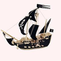 Jigsaw Puzzles Wooden Puzzles Building Blocks DIY Toys Black Sail Pirate Ship 1 Wood Ivory Model Building Toy