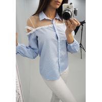 katherina Blue stripe cold shoulder mesh shirt