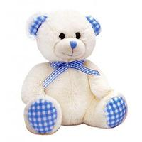 Keel Toys Nursery Gingham Bear - 15cm Blue