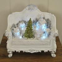 Kingfisher Christmas Tree Scene on Two-seat Sofa Decoration