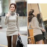 Lady Korean Knit Slim Long Sleeve High Collar Sweather Blouse Top Grey M