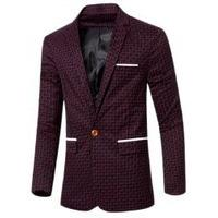 Lapel Collar Chic Stripe Print Single Button Patchwork Blazer For Men