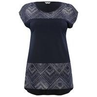 Ladies Plus size short sleeve aztec pattern burnout casual jersey t-shirt top - Navy