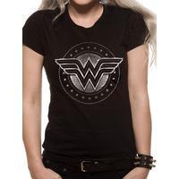 Large Ladies Wonder Woman Chrome Logo T-shirt