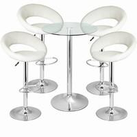 Leather Crescent and Vetro Table Set White
