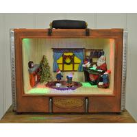 Light Up Christmas Suitcase with Santa\'s Cabin Scene