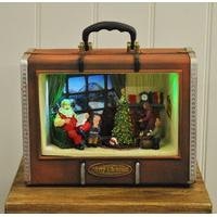 Light Up Christmas Suitcase with Santa\'s House Scene