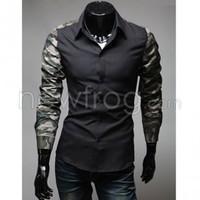 Man Fitted Slim Shirt Splicing Camo Long Sleeve Cotton Blends Black XL