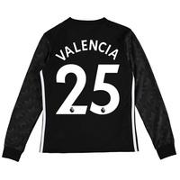 Manchester United Away Shirt 2017-18 - Kids - Long Sleeve with Valenci, Black