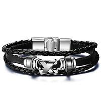 Men\'s Leather Bracelets Fashion Hip-Hop Rock Circle Round Jewelry For Birthday Gift Sports Christmas Gifts