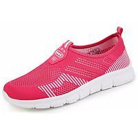 Men\'s Athletic Shoes Comfort Tulle Summer Athletic Outdoor Walking Comfort Flat Heel Black/Red Blushing Pink Fuchsia Dark Blue Flat