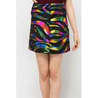 Multi Metallic Wave Print Skirt