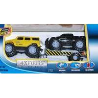 New Bright 5 inch 4x4 Twin Pack with Trailer - H2 Hummer + Ford F-350