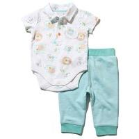 Newborn boys short sleeve jungle print polo shirt style cotton rich bodysuit and cuffed joggers set - White