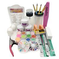 New Acrylic Powder Liquid French Nail Art Brush Glue UV Tips Tools Kits Set