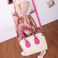 New Women Lady Handbag Shoulder Bags Tote Purse PU Leather Bag Beige