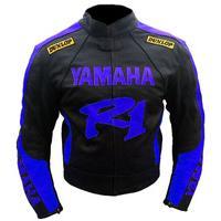 New Handmade Yamaha YZF-R1 Black Motorbike Leather Jacket Men