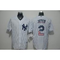 New York Yankees #2 Derek Jeter White Pinstripe USA Flag Baseball Jersey