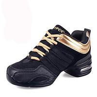 Non Customizable Women\'s Dance Shoes Leather / Fabric Leather / Fabric Dance Sneakers / Modern Sneakers Flat Heel