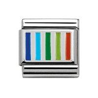 Nomination Composable Classic Silver Charm with Blue, Green and Orange Enamel Lines