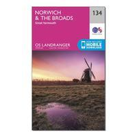 Ordnance Survey Landranger 134 Norwich & The Broads, Great Yarmouth Map With Digital Version - Orange, Orange