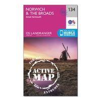 Ordnance Survey Landranger Active 134 Norwich & The Broads, Great Yarmouth Map With Digital Version - Orange, Orange