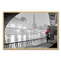 Paris Eiffel Tower Kiss Poster Beech Framed - 96.5 x 66 cms (Approx 38 x 26 inches)