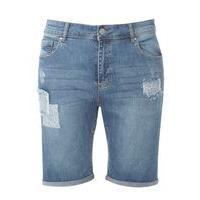 Patchwork Boyfriend Shorts, Denim