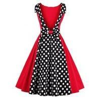 Polka Dot Print Vintage Backless Dress