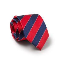 Red Navy White Regimental Stripe Silk Tie - Savile Row