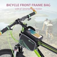 ROCKBROS Rainproof Bike Bicycle Frame Front Tube Bag Double Pouch Cycling Bag Case Phone Holder for IPhone 6s/ 6s Plus for Samsung with 6\