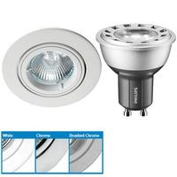 Robus R208SC Directional Downlight & Philips 4W GU10 LED - Very Warm White - Brushed Chrome - 25°