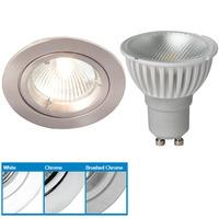 Robus R201SC Straight Downlight & Megaman 4W GU10 LED - Warm White (Brushed Chrome)