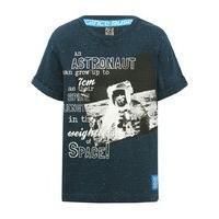 Science Museum boys navy short sleeve cotton rich astronaut character and fun fact design t-shirt - Navy