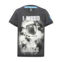 Science Museum boys 100% cotton short sleeve crew neck astronaut graphic slogan t-shirt - Charcoal