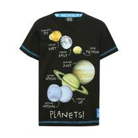 Science Museum boys 100% cotton short sleeve black glow in the dark astronaut slogan print t-shirt - Black