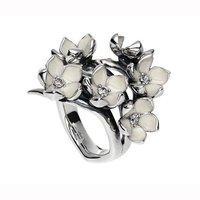 Shaun Leane Silver and Diamond Full Cherry Blossom Ring