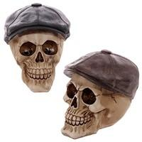 Skull Flat Cap Ornament Figurine Scary Gift 2 colours available (Brown)