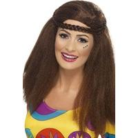 Smiffy\'s Hippy Chick Long Afro with Plaited Headband - Brown
