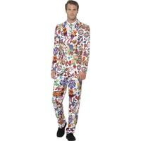 Smiffy\'s Men\'s Groovy Suit, Stand Out Suit, Jacket, Trousers And Tie, Stand