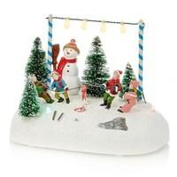 Snowman Games Scene LED Ornament
